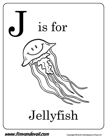 J is for jellyfish letter j coloring page