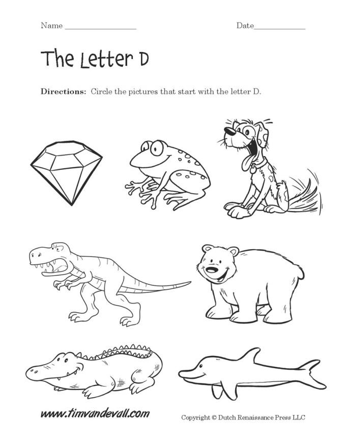Free Letter D Worksheets For Kindergarten | Textpoems.org