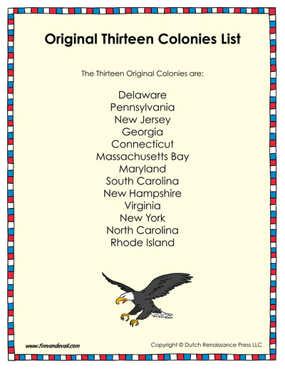 original thirteen colonies list