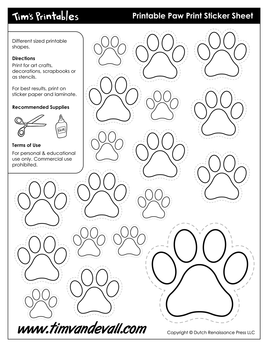 Paw Print Template  best photos of free paw print template