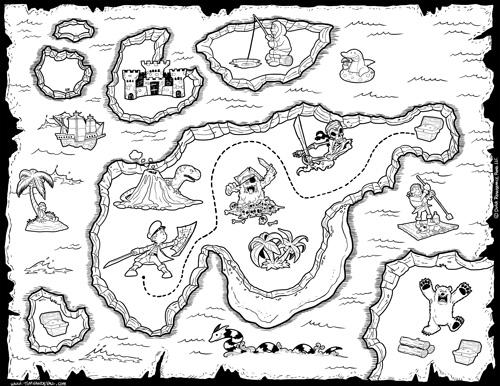 treasure map black and white