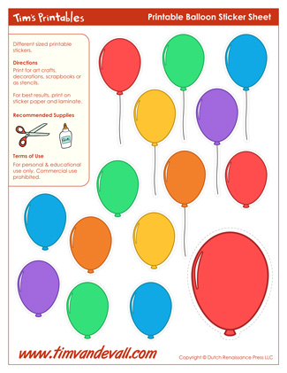 Printable Balloon Stickers / Balloon Templates