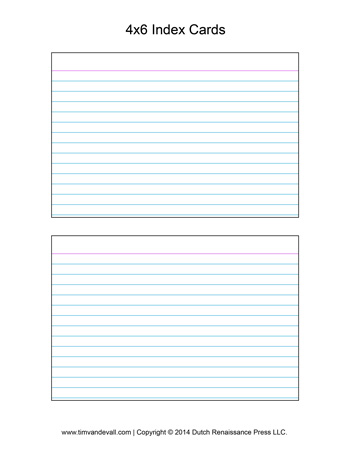 index card print outs