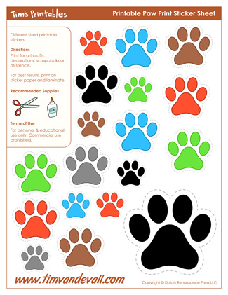 Printable Paw Print Stickers