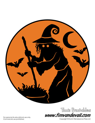 printable witch silhouette stencil