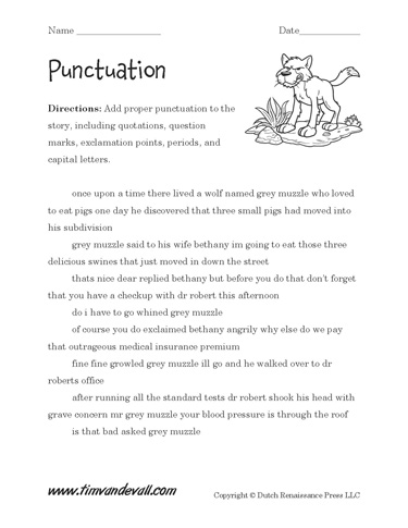 Punctuation Worksheet