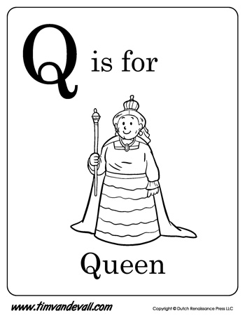 q is for queen letter q coloring page