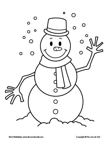 Snowman Coloring Page Tim S Printables