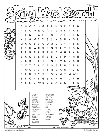 spring word search black and white