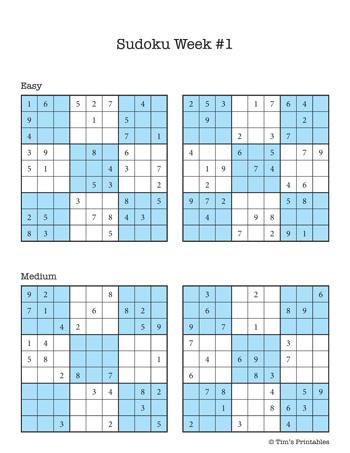sudoku printables