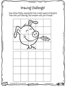 Three Little Pigs Drawing Challenge - Straw Pig - Black & White