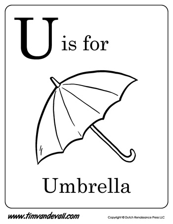 U is for Umbrella letter U coloring page