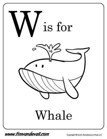 w is for whale letter w