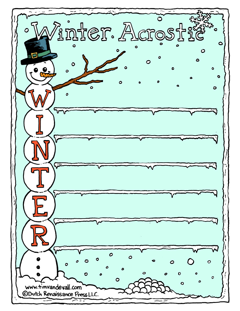 Acrostic Poem Template | Winter Acrostic Poem Template Tim S Printables