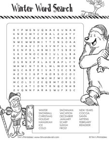 Winter Word Search - Black & White