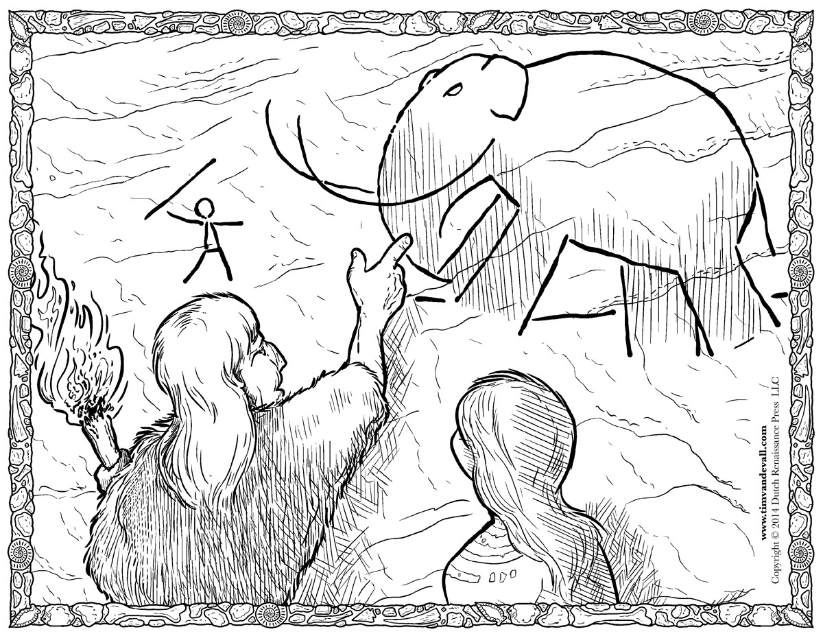 Cave Man Coloring Page
