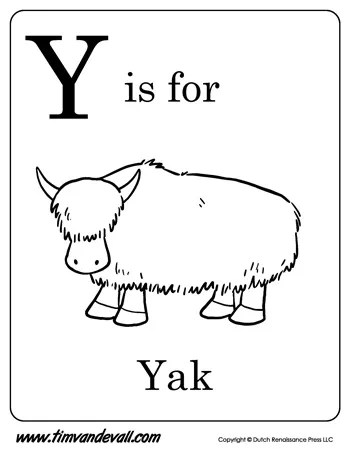 Y is for Yak letter y