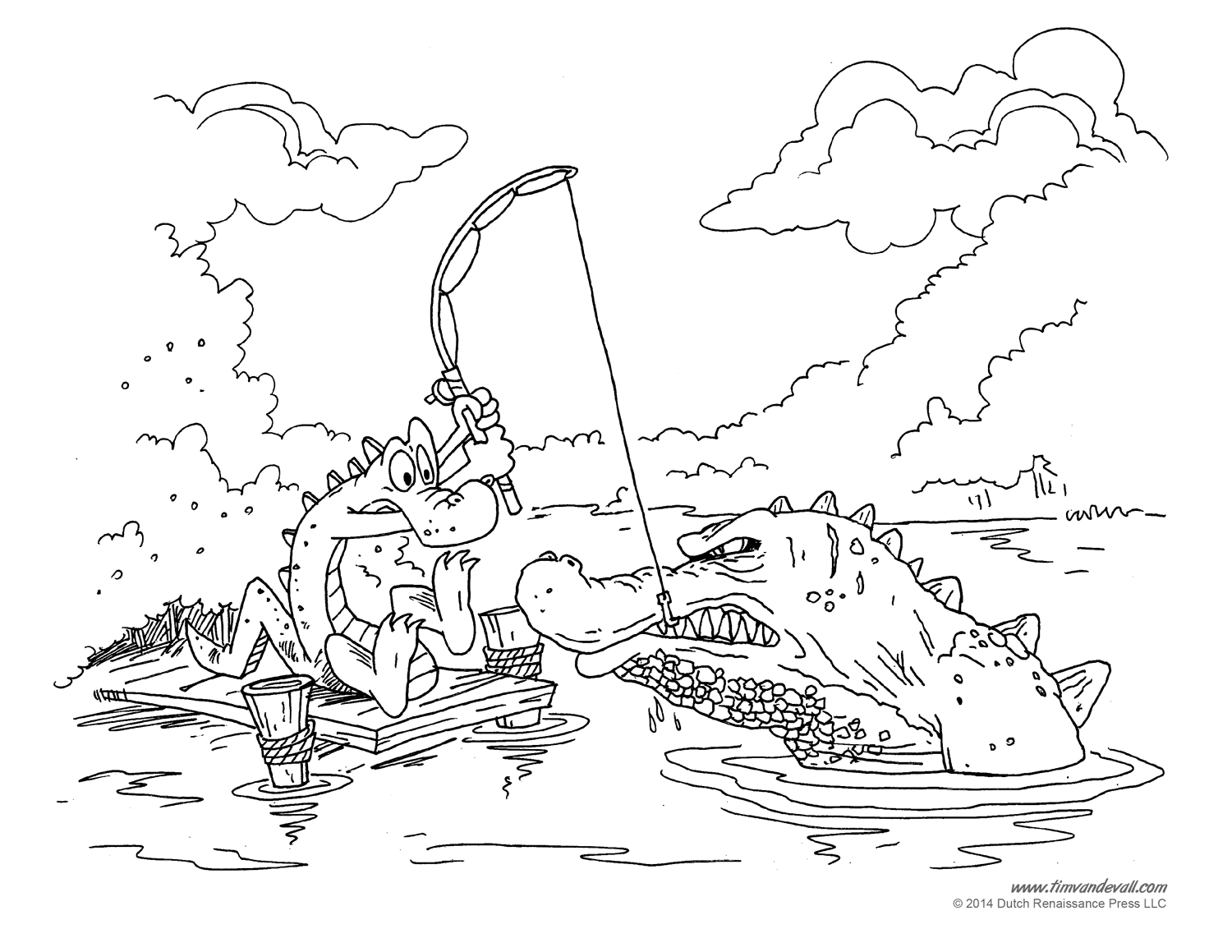 Alligator Coloring Pages 02 Tims Printables