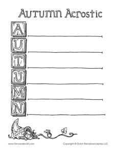 Autumn Acrostic Poem Template - BW