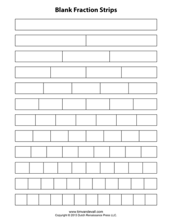blank fraction strip templates