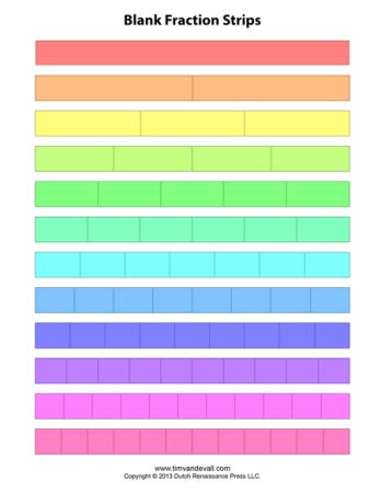 printable fraction strips