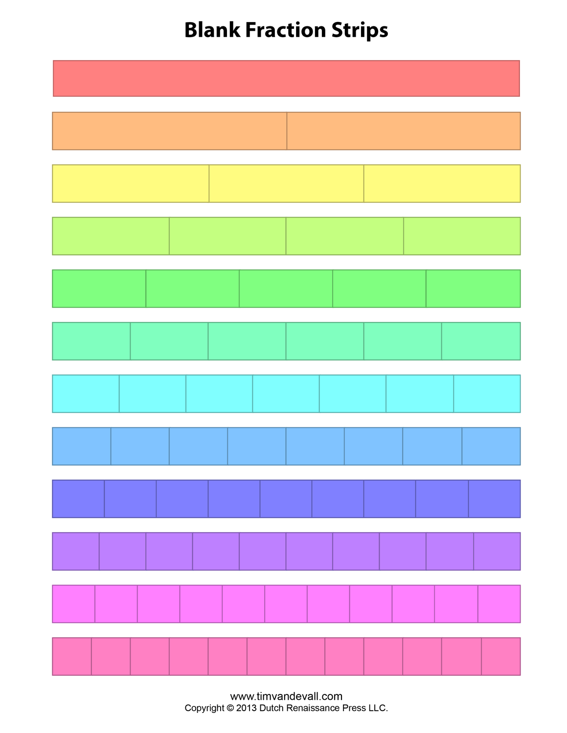 Fraction Strip Templates For Kids
