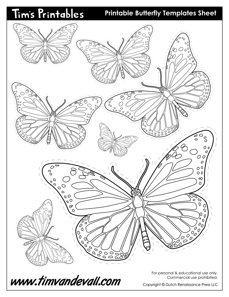 butterfly printables - tim's printables