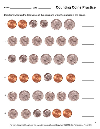 Counting Coins Worksheet #3 - Tim's Printables