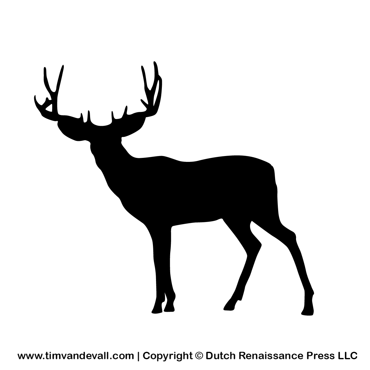 Prinable Deer Silhouette Stencil And Outline Tempalte