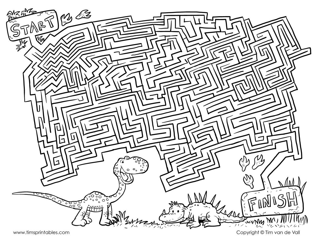 Printable Dinosaur Maze For Kids