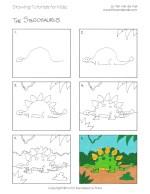Easy Drawing Tutorials for Kids - Stegosaurus