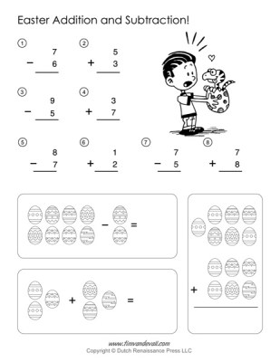 Easter Math Worksheets - Addition and Subtraction