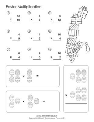 Easter Math Worksheets - Easter Multiplication