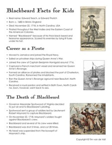 Blackbeard Facts for Kids Printable