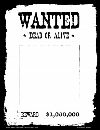 wanted poster black and white