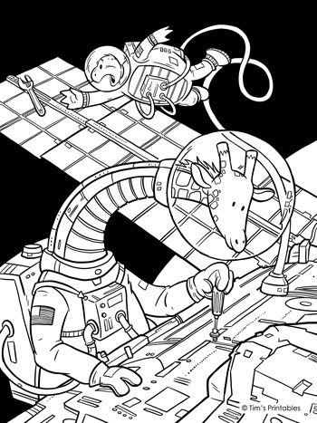 Giraffe Space Walk Coloring Page