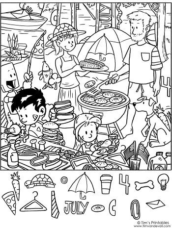 Printable July 4th Hidden Objects Puzzle Tim S Printables