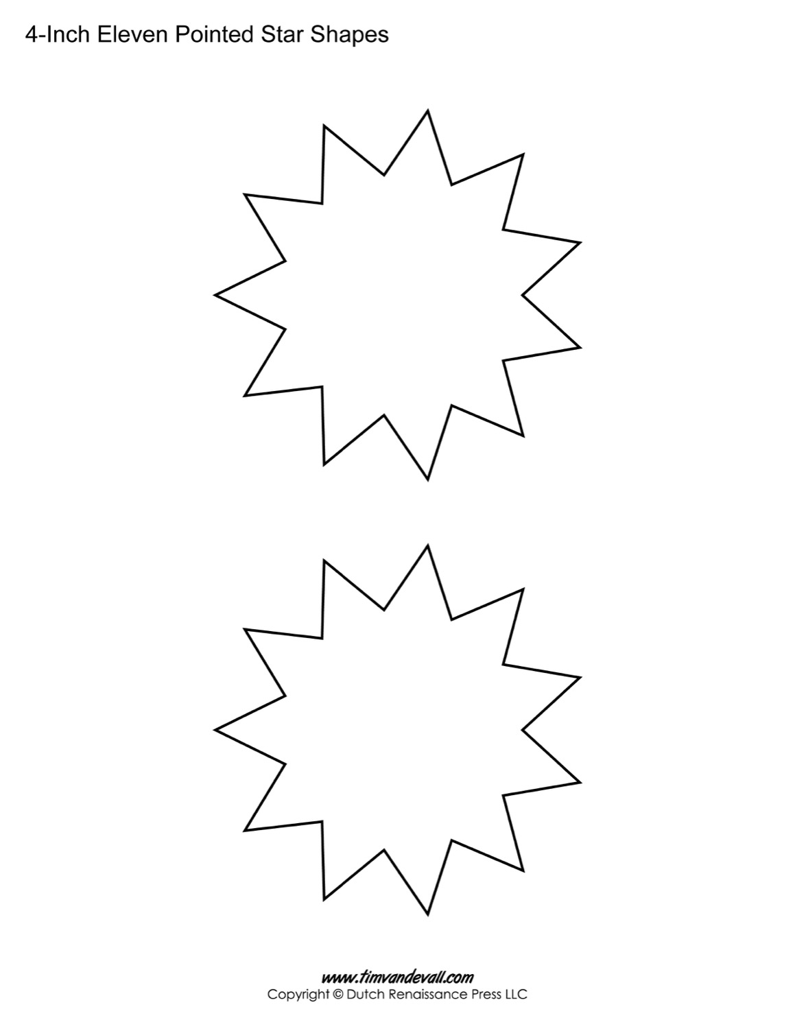 Free Eleven Pointed Star Templates