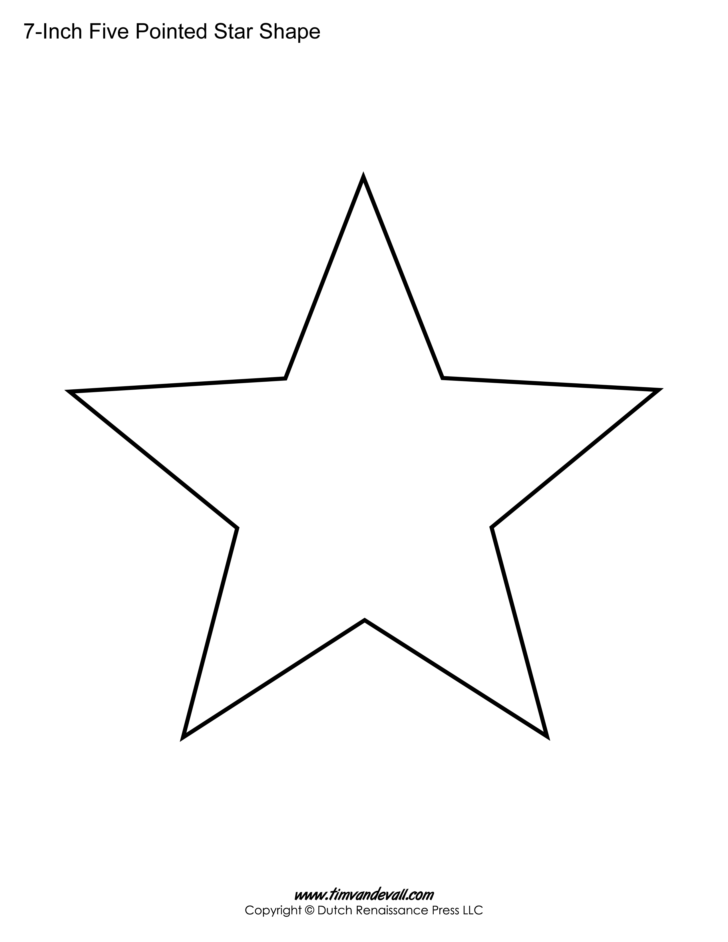Printable Five Pointed Star Templates Blank Shape Pdfs