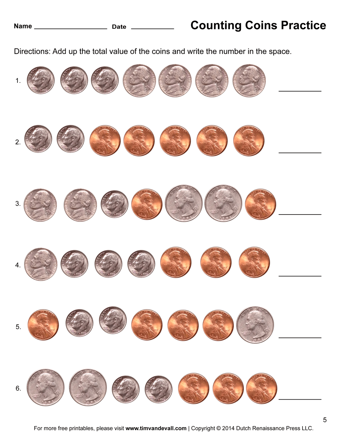 Coin Counting Pennies Worksheet