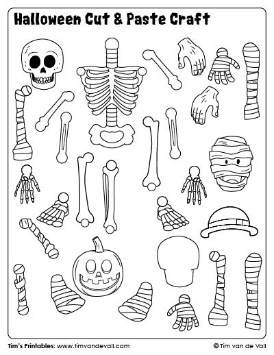 Halloween Cut & Paste Craft - Sheet 1 - Tim's Printables
