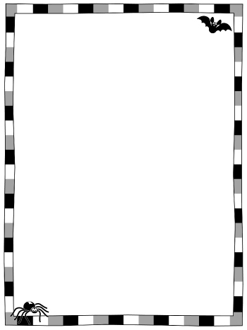 Halloween Page Border – Black and White