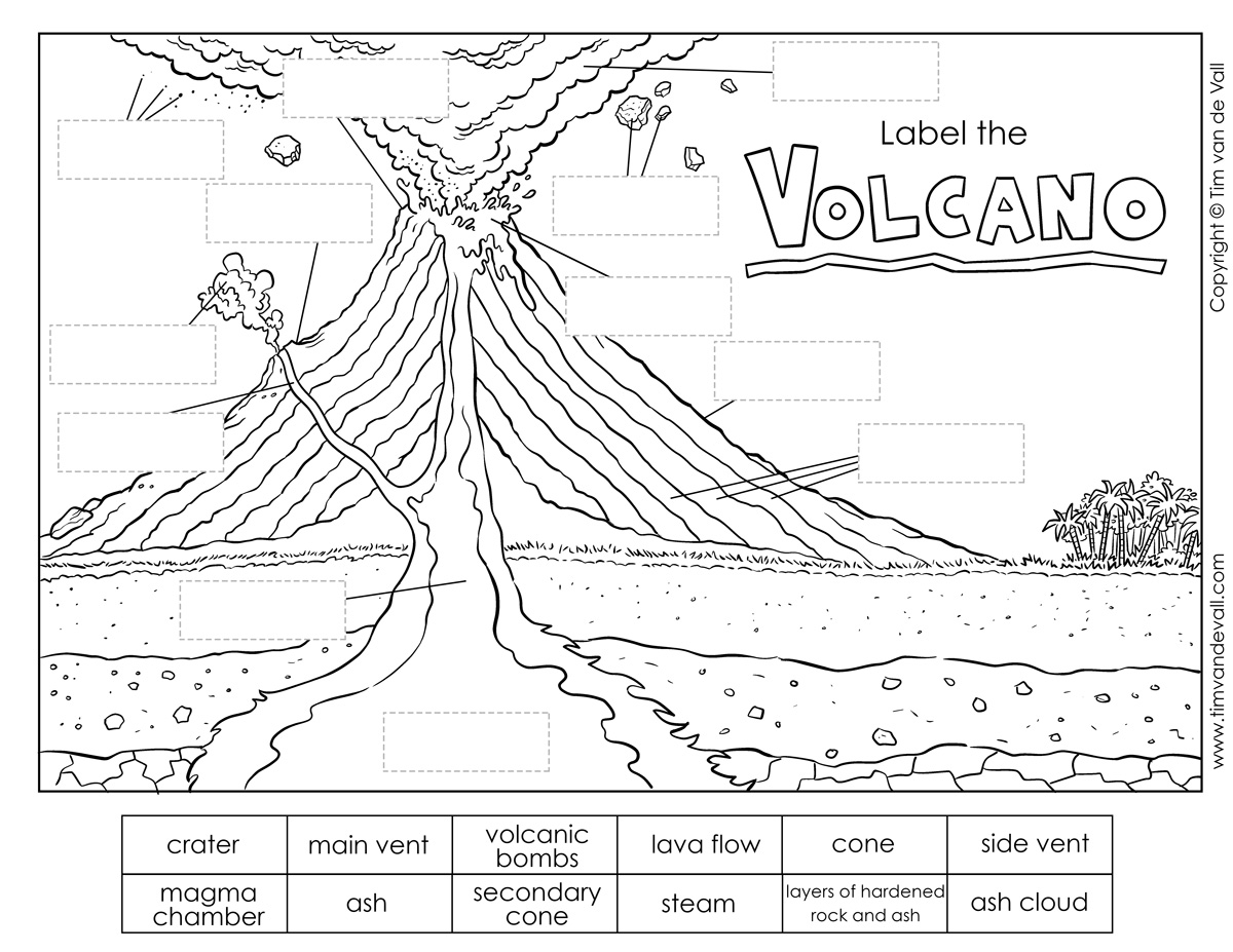 Printable Volcano Diagram Label The Volcano Worksheet For Kids