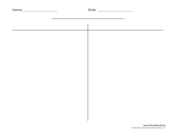 Printable T-Chart