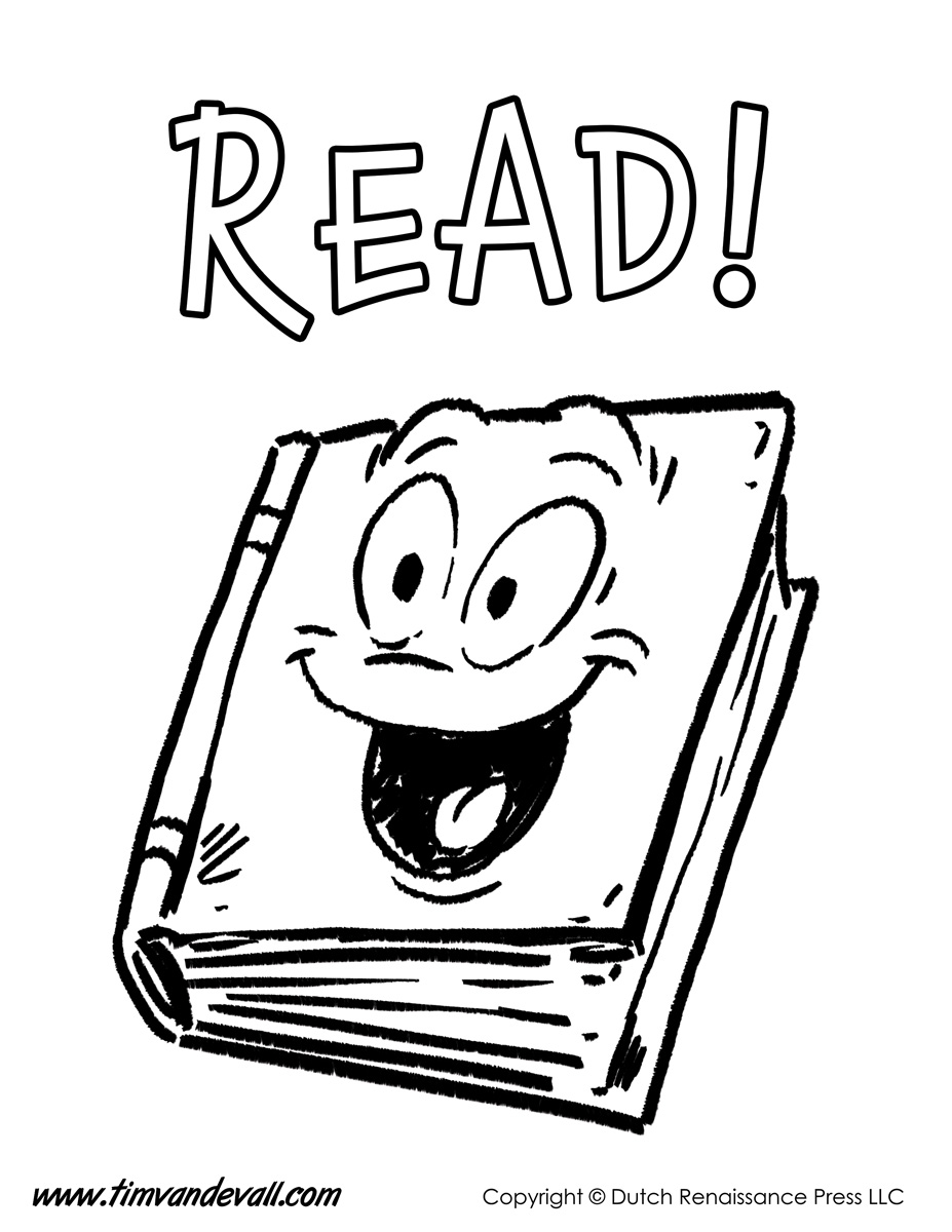 Reading Coloring Page Tim