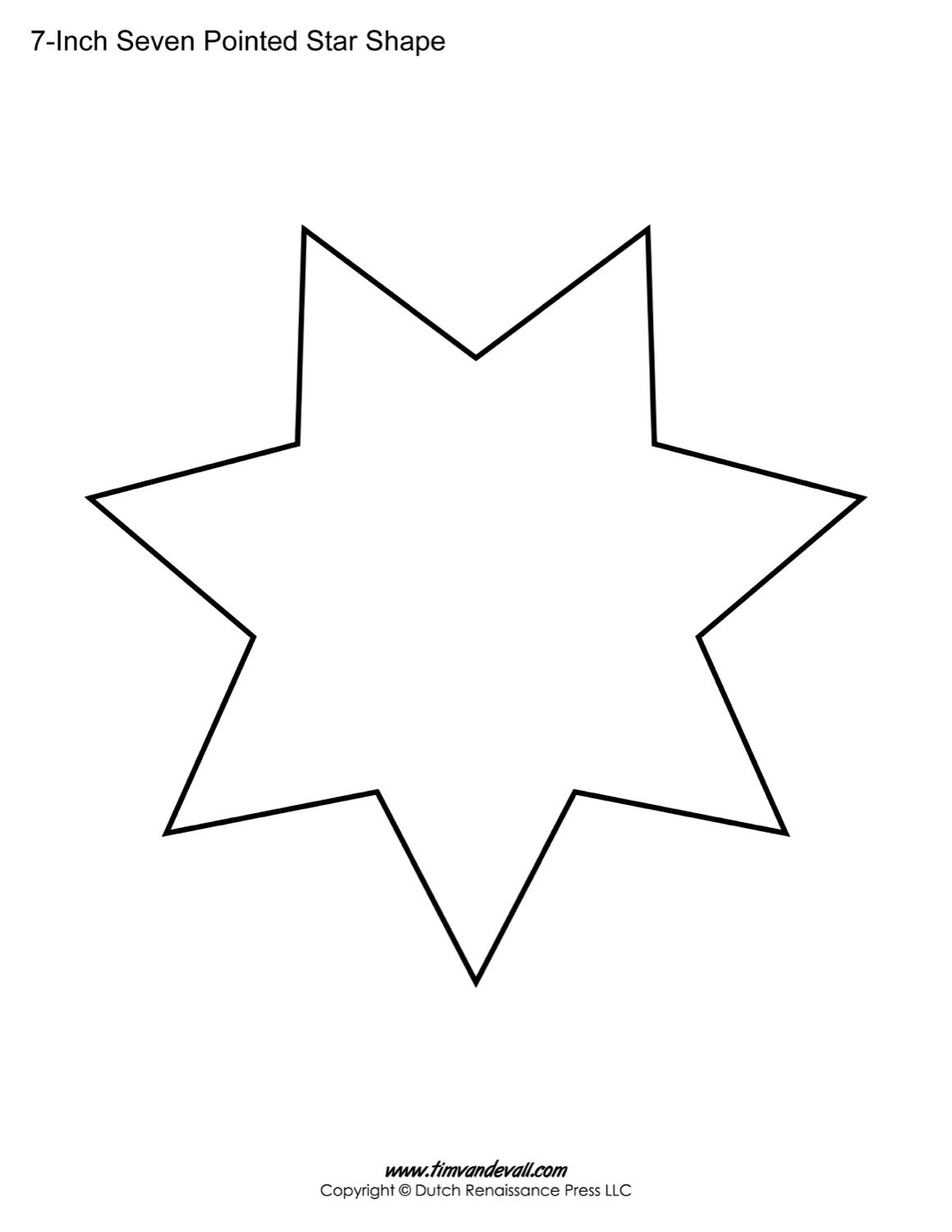 Seven Pointed Star Shape Templates