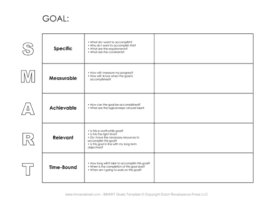printable smart goals worksheet pdf