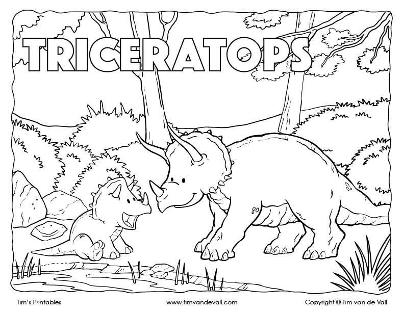 Free Printable Triceratops Coloring Page Tim S Printables
