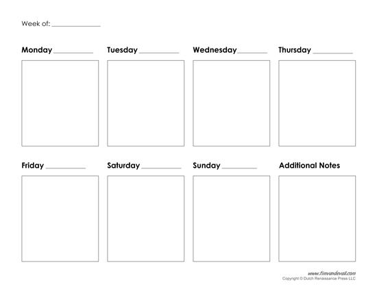 Printable Weekly Calendar Template