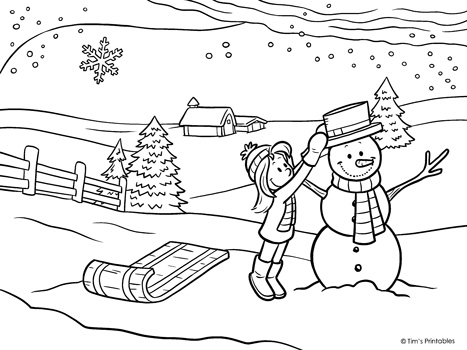 - Winter Coloring Page - Building A Snowman - Tim's Printables